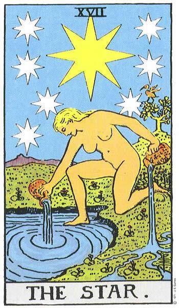 Kombinacije u Tarot kartama (karta Zvezda)