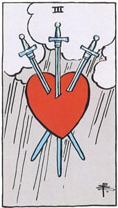 Tarot karta Tri mača – najava izdaje i neverstva