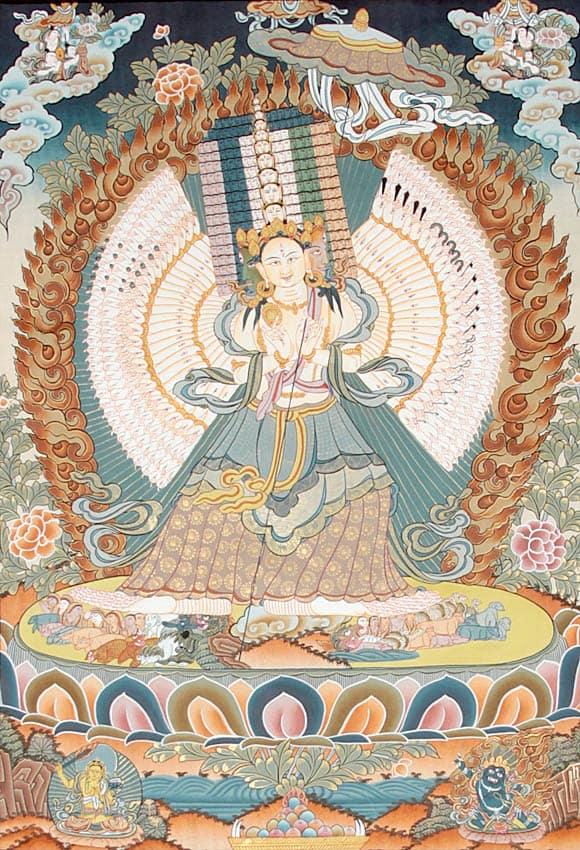 Feng shui talisman bela boginja sa kišobranom